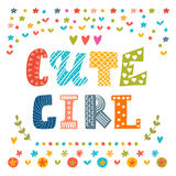 Cute girl card. Cute greeting card Royalty Free Stock Photography
