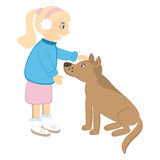 Cute girl caress the dog Royalty Free Stock Photo