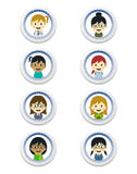 Cute girl cartoon character label set Royalty Free Stock Photography