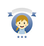 Cute girl cartoon character label Royalty Free Stock Image