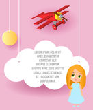 Cute girl cartoon character. Vector Paper art of cloud and plane flying in the sky. Template advertising brochure with space for t Royalty Free Stock Photography