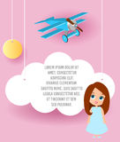 Cute girl cartoon character. Vector Paper art of cloud and plane flying in the sky. Template advertising brochure with space for t Stock Photo