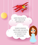 Cute girl cartoon character. Vector Paper art of cloud and plane flying in the sky. Template advertising brochure with space for t Royalty Free Stock Image