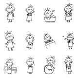 Cute girl cartoon drawing in black line doodle vector Royalty Free Stock Photos