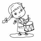 Cute girl l cartoon illustration drawing playing drum and speaking drawing illustration white background vector illustration