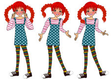Cute girl cartoon pippi longstocking  Stock Image