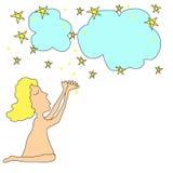 Cute girl cartoon  praying Stock Image