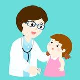 Cute girl cartoon see doctor  Stock Photos