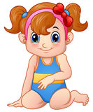 Cute girl cartoon sitting wearing swimsuit and red bow. Illustration of Cute girl cartoon sitting wearing swimsuit and red bow vector illustration