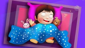 Cute girl cartoon sleeping in bedroom