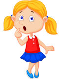 Cute girl cartoon thinking vector illustration