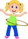 Cute girl cartoon twirling hula hoop Royalty Free Stock Photo