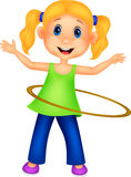 Cute girl cartoon twirling hula hoop Stock Image