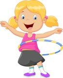 Cute girl cartoon twirling hula hoop Royalty Free Stock Image