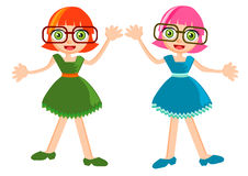Cute girl cartoon vector Stock Photos