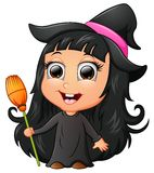 Cute girl cartoon wearing witch costume royalty free illustration