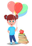 Cute girl in casual clothes with helium balloons standing near s Stock Image