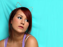 Cute girl with the cat ears Stock Photography