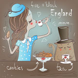 Cute girl with cat eat. English tea Royalty Free Stock Images