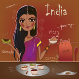 Cute girl with cat eat. Indian cuisine Royalty Free Stock Photography