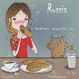 Cute girl with cat eat. Russian cuisine Stock Images