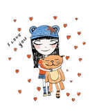 Cute girl with cat. Hand drawn beautiful, cute, little girl with pretty cat on the background with words I love You . Handdrawn girl vector illustration Stock Images
