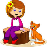 Cute girl and cat. Illustration of cute girl and pet Royalty Free Stock Images