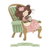 Cute girl with cat sitting in chair. Vector illustration Stock Image