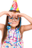 Cute girl celebrate her birthday royalty free stock image