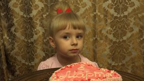 Cute Girl Celebrates 8 March, Intenational Women's Day. 4K, UHD, Ultra HD stock video
