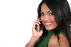 Cute Girl with Cell Phone Royalty Free Stock Photos