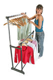 Cute girl changing her clothes Royalty Free Stock Image
