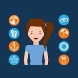 Cute girl character summer vacation icons set Stock Image
