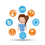 Cute girl character summer vacation icons set Stock Photography