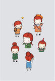 Cute girl character vector set. In different poses. simple flat design.water color illustration Stock Images