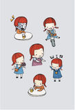 Cute girl character vector set. In different poses. simple flat design.water color illustration Royalty Free Stock Photography
