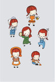 Cute girl character vector set. In different poses. simple flat design.water color illustration Stock Photo