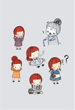 Cute girl character vector set. In different poses. simple flat design.water color illustration Royalty Free Stock Photo