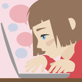 Cute girl chatting on laptop flat illustration Stock Photo