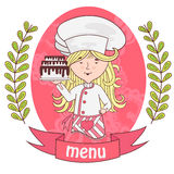 Cute girl chef cook with delicious cake on a tray .menu. Stock Photo