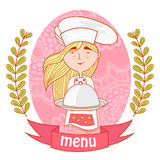 Cute girl chef cook with dish on the tray.menu. Royalty Free Stock Photography