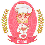 Cute girl chef cook with the pie. menu. Cute girl chef cook with the pie.menu. background pattern of branches with leaves on the sides. logo. vector. pink Stock Photo