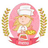 Cute girl chef cook with pizza. menu. Stock Photography
