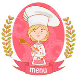 Cute girl chef cook with spoon. menu. Background pattern of branches with leaves on the sides. logo. vector. pink Stock Photos