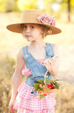 Cute girl with cherries Royalty Free Stock Photography