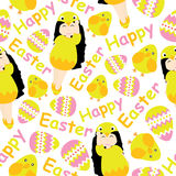 Cute girl, chick, and Colorful egg cartoon for Easter wallpaper, scrap paper, and postcard, seamless pattern. Illustration stock illustration