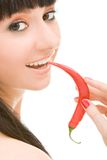 Cute girl with chili pepper. On white background stock photos