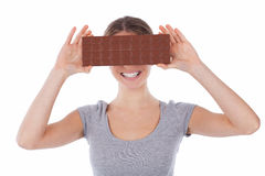 Cute girl with chocolate Royalty Free Stock Image