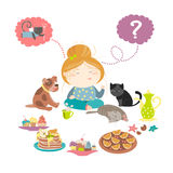 Cute girl choosing sweet. Vector  illustration Stock Photography