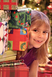 Cute girl at Christmas Stock Images